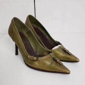 Karen Millen Sage Leather Pointy Toe Heels